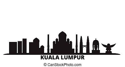 Malaysia, Kuala Lumpur city skyline isolated vector illustration. Malaysia, Kuala Lumpur travel black cityscape