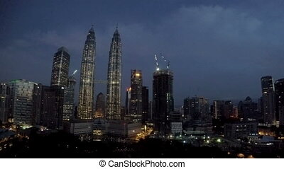 Malaysia, Kuala Lumpur the top view on the night city and...