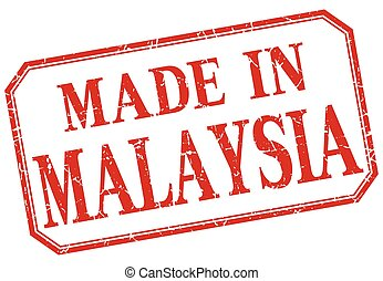 Malaysia - made in red vintage isolated label