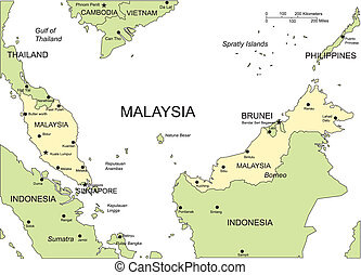 Malaysia, Major Cities and Capital and Surrounding Countries...