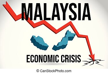 Malaysia Map Financial Crisis Economic Collapse Market Crash Global Meltdown Vector.