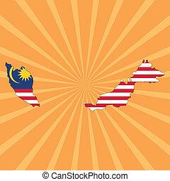 Malaysia map flag on sunburst