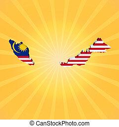 Malaysia map flag on sunburst illustration