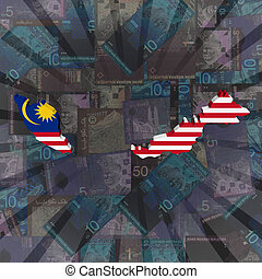 Malaysia map flag Ringitt sunburst