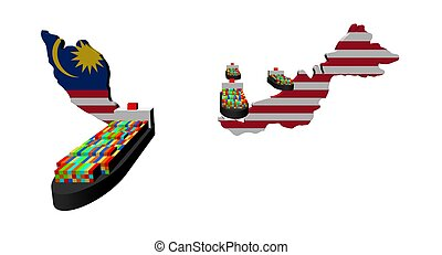 Malaysia map flag with container ships