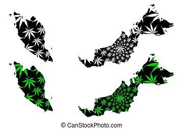 Malaysia - map is designed cannabis leaf