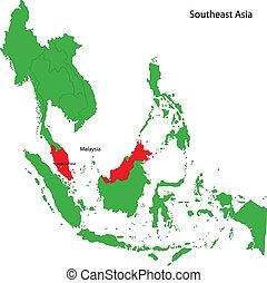 Location of Malaysia on Southeast Asia