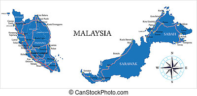 Malaysia map - Highly detailed vector map of Malaysia with...
