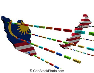 Malaysia map with lines of containers