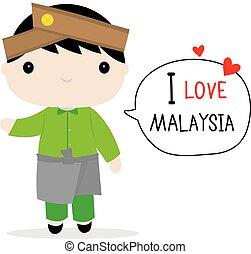 Malaysia Men National Dress Cartoon Vector