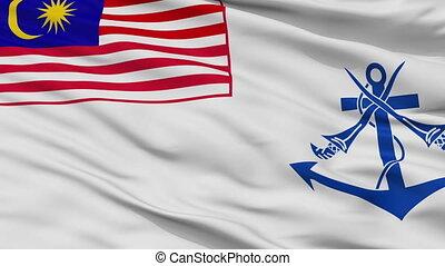 Malaysia Naval Ensign Flag Closeup Seamless Loop - Naval...