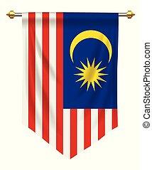 Malaysia Pennant - Malaysia flag or pennant isolated on...