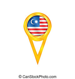 Malaysia pin flag - Gold pin with the national flag of...