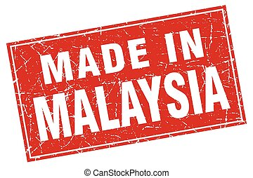 Malaysia red square grunge made in stamp