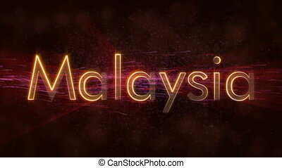 Malaysia - Shiny looping country name text animation -...