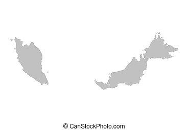 malaysia, szürke, térkép