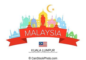 Malaysia Travel Landmarks and Flag.