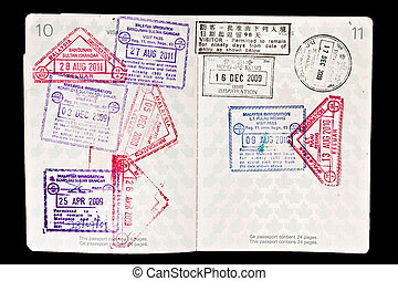 Malaysia visa stamps in passport
