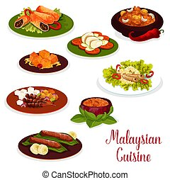 Malaysian cuisine dinner icon with asian dessert
