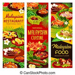 Malaysian cuisine restaurant meals banners