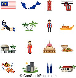 Malaysian Culture Symbols Flat Icons Set - Malaysian culture...