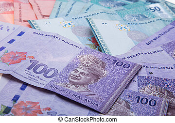Malaysian currency on white backgorund