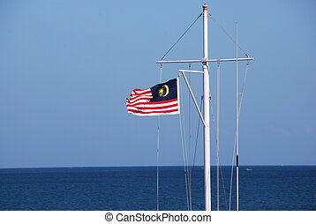 Malaysian Flag A - Malaysian flag blowing in the wind