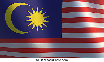 Malaysian flag. Waving flag of Malaysia. 3d illustration