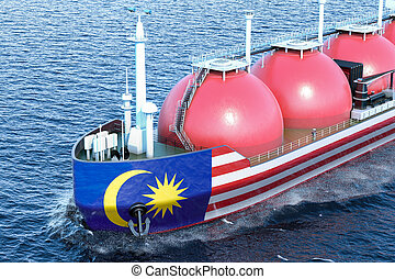 Malaysian gas tanker sailing in ocean, 3D rendering