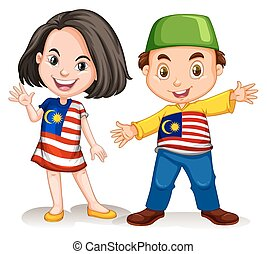 Malaysian girl and boy greeting illustration