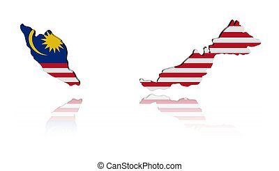 Malaysian map flag with reflection