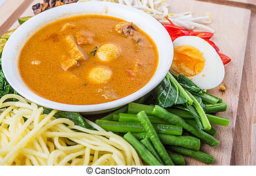 malaysian,  noodles, caril, ingredientes