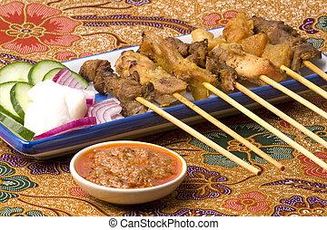 Malaysian Satay on Batik - Image of a Malaysian delicacy ...