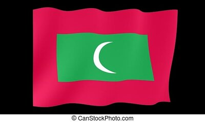 Maldivan flag . Waving