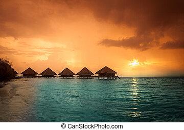 maldivas, isla, agua, recurso, ocaso, chalets