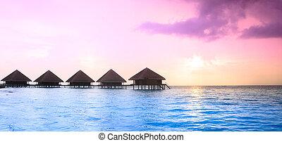 maldivas, ocaso, isla