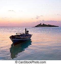 maldivas, romántico, barco, vendimia, tropical, ocaso