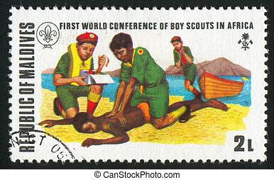 Lifesaving - MALDIVE ISLANDS CIRCA 1973: stamp printed by...