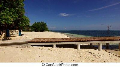 Maldives beautiful beach background white sandy tropical paradise island with blue sky sea water ocean 4k jetty pier pontoon