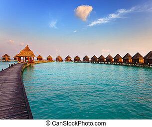 maldives., chalet, pilas, agua, tiempo, sunset.