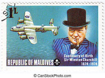 Maldives - circa 1974 : stamp printed in Maldives with a picture of Sir Winston Churchill , centenary of Birth, circa 1974