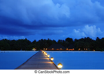 maldives, coucher soleil