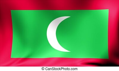 Maldives Flag. Background Seamless Looping Animation.