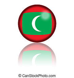 Maldives Flag Sphere 3D Rendering