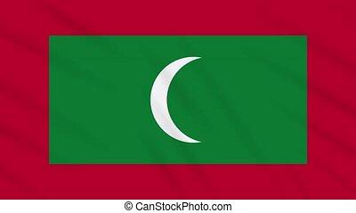 Maldives flag waving cloth background, loop - Maldives flag...