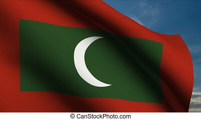 Maldives Flag waving in wind with clouds in background