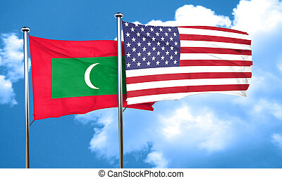 Maldives flag with American flag, 3D rendering