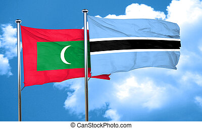 Maldives flag with Botswana flag, 3D rendering