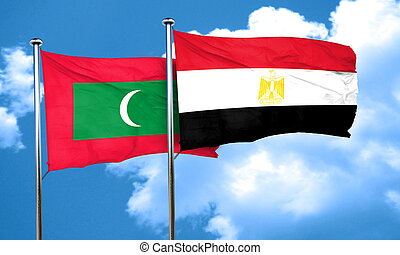 Maldives flag with egypt flag, 3D rendering