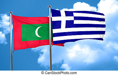Maldives flag with Greece flag, 3D rendering